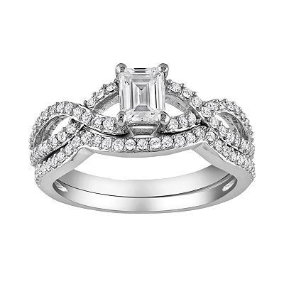 14k White Gold 1-ct. T.W. IGL Certified Emerald-Cut Diamond Infinity Ring Set