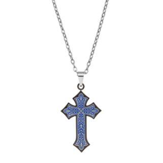 AXL by Triton Stainless Steel Gunmetal Ion Cross Pendant - Men