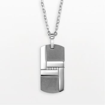 AXL by Triton Titanium 1/10-ct. Diamond Dog Tag - Men