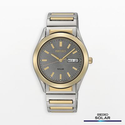 Seiko Solar Stainless Steel Two Tone Watch - SNE180 - Men
