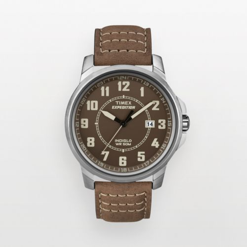 Timex Expedition Silver Tone Leather Watch - T498919J - Men