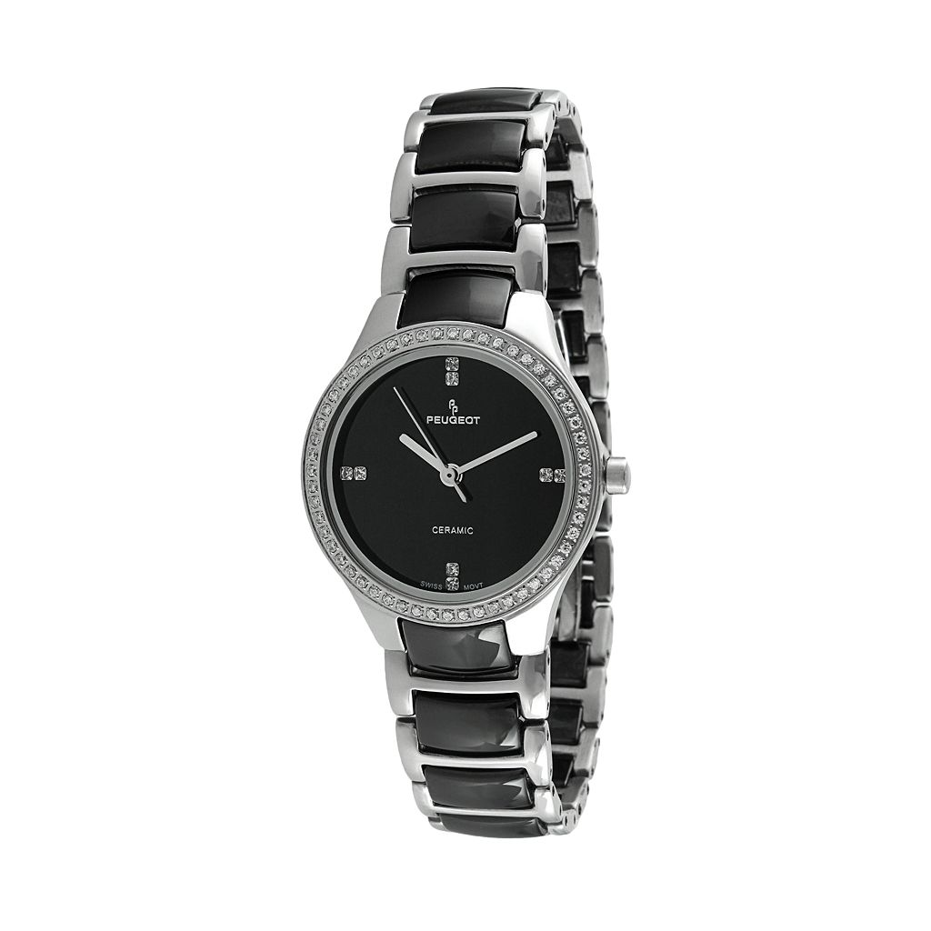 Peugeot Women's Crystal Stainless Steel & Ceramic Watch - PS4904BS