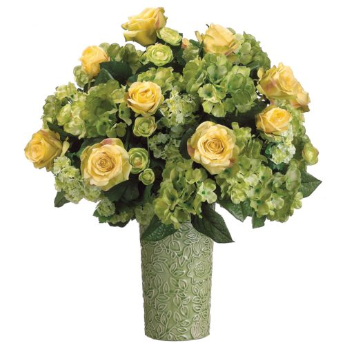 22-in. Artificial Rose, Hydrangea And Ranunculus Floral Arrangement
