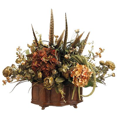 Allstate Floral 31-in. Artificial Hydrangea, Ranunculus And Feather Floral Arrangement