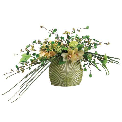 14-in. Artificial Cymbidium, Ranunculus And Bamboo Floral Arrangement