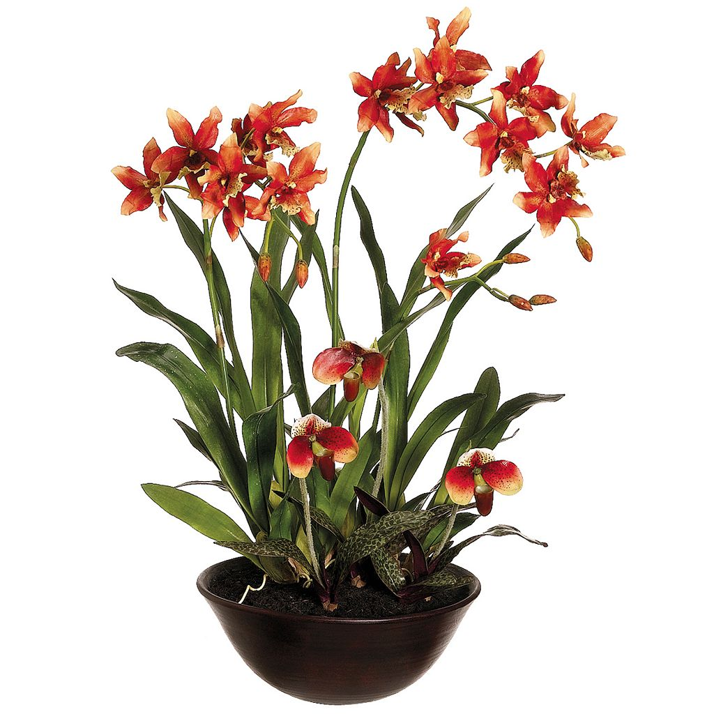 28-in. Artificial Oncidium & Lady's Slipper Floral Arrangement