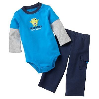 Carter's Mock-Layer Grandma's Little Monster Bodysuit and Cargo Pants Set - Baby