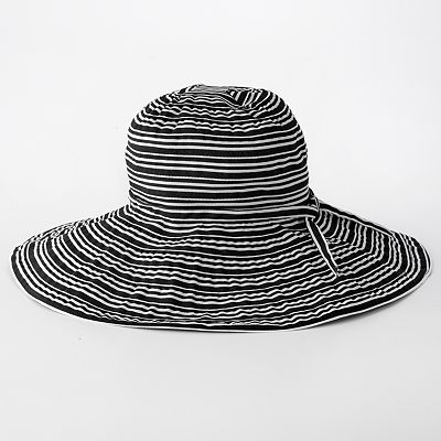 4 buttons by San Diego Hat Co. Ribbon Striped Floppy Hat