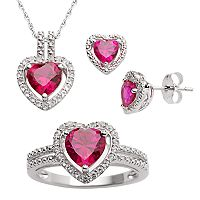 Sterling Silver Lab-Created Ruby & Lab-Created White Sapphire Heart Pendant, Ring & Earring Set