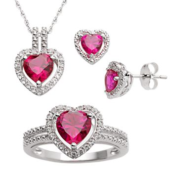 Sterling Silver Lab-Created Ruby and Lab-Created White Sapphire Heart Pendant, Ring and Earring Set