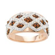 Sterling 'N' Ice 14k Rose Gold Over Silver Crystal Crisscross Ring - Made with Swarovski Elements