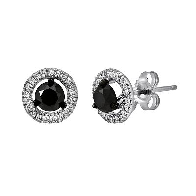 10k White Gold 1-ct. T.W. Black and White Round-Cut Diamond Frame Stud Earrings
