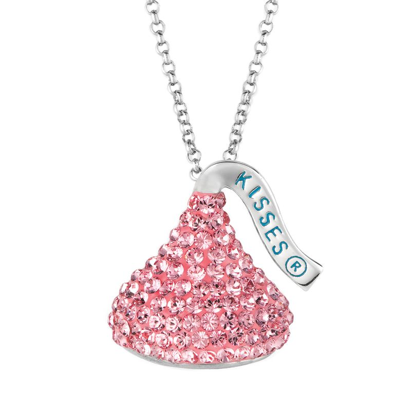 Hershey's Kiss Sterling Silver Crystal Pendant- Made with Swarovski Elements