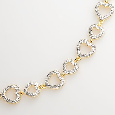 18k Gold-Plated Two Tone Diamond Accent Heart Link Bracelet