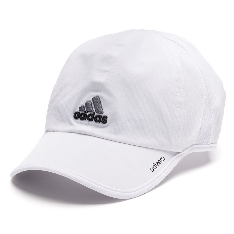 Adidas adiZero Hat, Men's, White Reflective accents keep you visible at night. Adjustable back strap gives you an ideal fit. Details: One size fits most Adjustable back strap Polyester/spandex Hand wash Imported Size: Onesize. Color: White. Gender: Male. Age Group: Adult. Pattern: Solid.