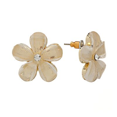 Candie's Gold Tone Simulated Crystal Flower Stud Earrings