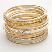 Candie's Two Tone Glitter Bangle Bracelet Set