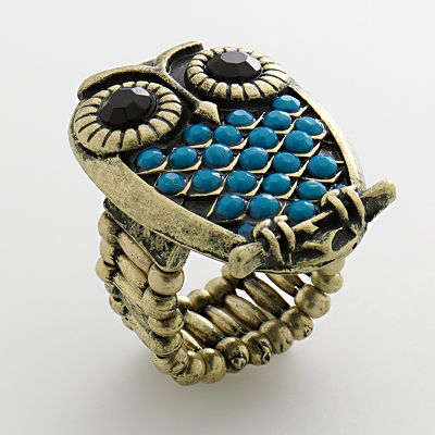 Mudd Gold Tone Bead Owl Stretch Ring