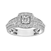 Round-Cut IGL Certified Diamond Frame Engagement Ring in 14k White Gold (1 ctT.W)
