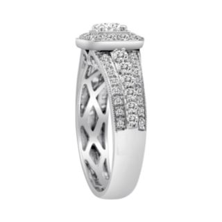 Round-Cut IGL Certified Diamond Frame Engagement Ring in 14k White Gold (1 ct. T.W)