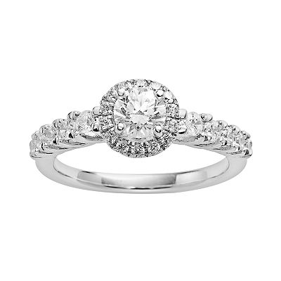 14k White Gold 1-ct. T.W. IGL Certified Round-Cut Diamond Frame Ring