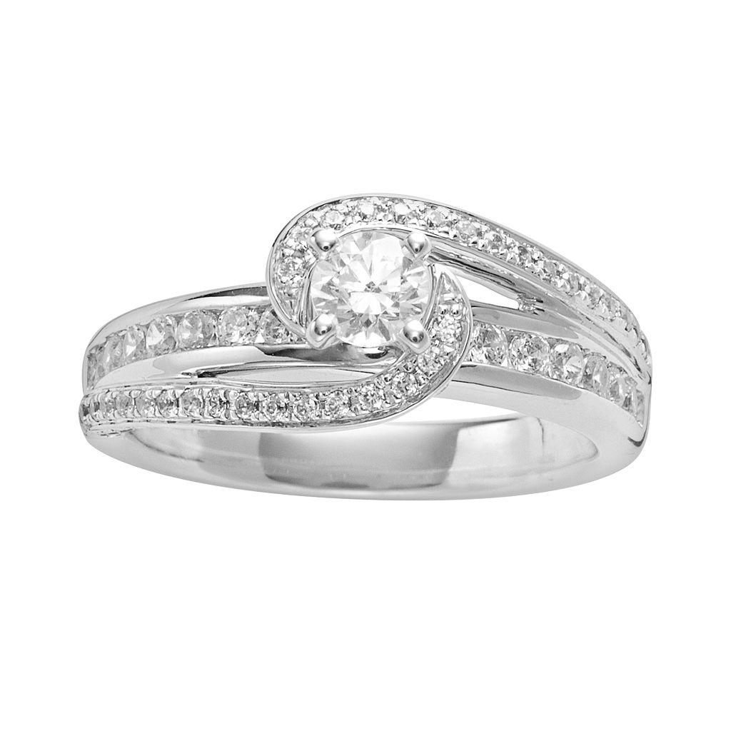 Round-Cut IGL Certified Diamond Swirl Engagement Ring in 14k White Gold (1-ct. T.W.)
