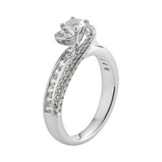 Round-Cut IGL Certified Diamond Swirl Engagement Ring in 14k White Gold (1-ct. T.W.)