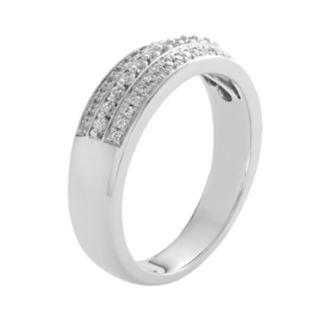 14k White Gold 1/4-ct. T.W. IGL Certified Diamond Multirow Wedding Ring