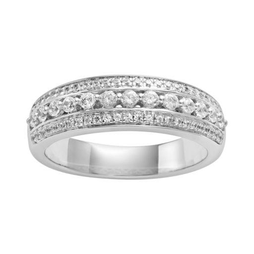 14k White Gold 1/2-ct. T.W. IGL Certified Diamond Multirow Wedding Ring