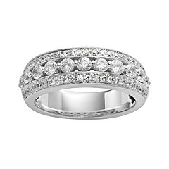 14k White Gold 1-ct. T.W. IGL Certified Diamond Multirow Wedding Ring