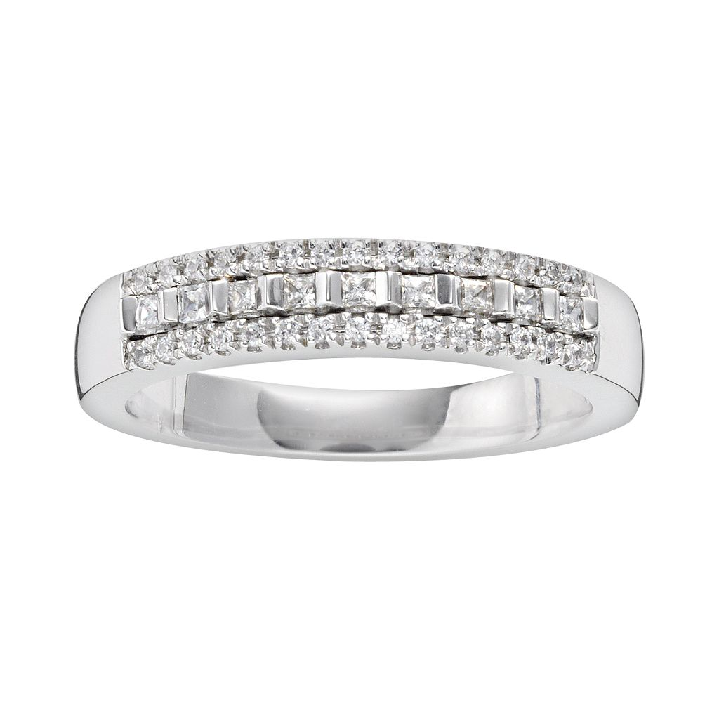 14k White Gold 1/4-ct. T.W. IGL Certified Diamond Multirow Wedding Ring