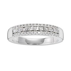 14k White Gold 1/4 ctT.W. IGL Certified Diamond Multirow Wedding Ring