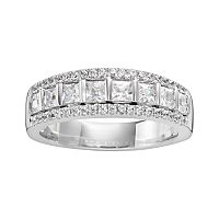 14k White Gold 1 ctT.W. IGL Certified Princess-Cut Diamond Multirow Wedding Ring
