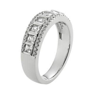 14k White Gold 1-ct. T.W. IGL Certified Princess-Cut Diamond Multirow Wedding Ring