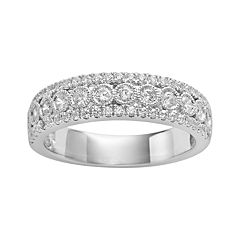 14k White Gold 1/2-ct. T.W. IGL Certified Diamond Multirow Wedding Ring