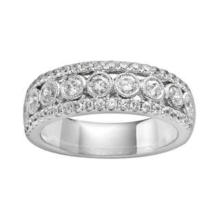 14k White Gold 1-ct. T.W. IGL Certified Diamond Multirow Wedding Ring