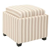 Safavieh Bennett Square Striped Single Tray Storage Ottoman