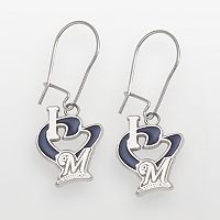 LogoArt Milwaukee Brewers Sterling Silver Heart Logo Drop Earrings