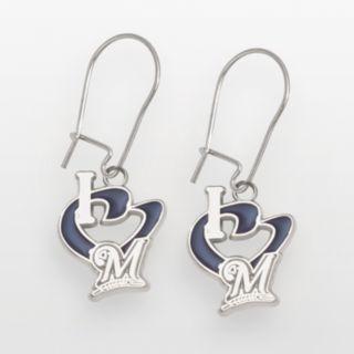 LogoArt Milwaukee Brewers Sterling Silver Heart Logo Drop Earrings