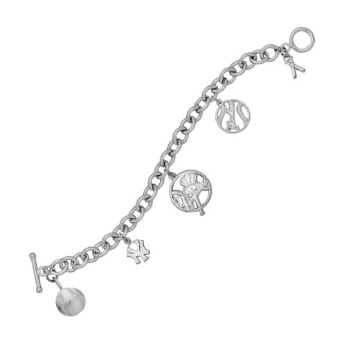 LogoArt New York Yankees Sterling Silver Charm Bracelet