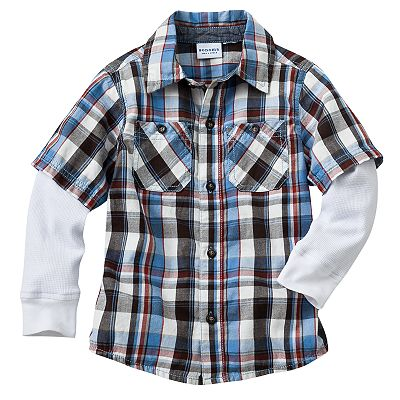 SONOMA life + style Mock-Layer Plaid Button-Down Shirt - Toddler