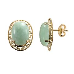 18k Gold Over Silver Jade Greek Key Oval Stud Earrings