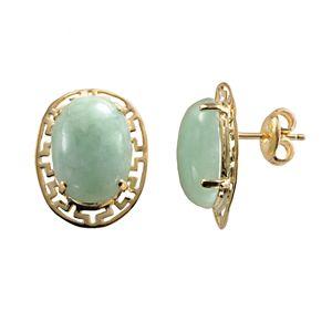 18k Gold Over Silver Jade Greek Key Oval Stud Earrings