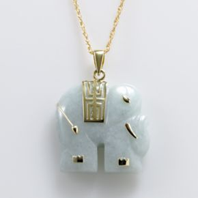 18k Gold Over Silver Jade Elephant Pendant