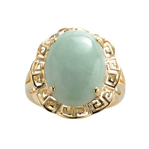 18k Gold Over Silver Jade Greek Key Oval Ring