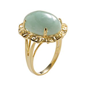 18k Gold Over Silver Jade Greek Key Oval Ring