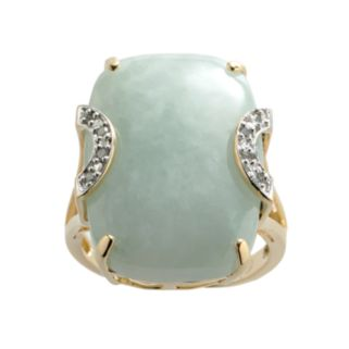 18k Gold Over Silver Jade and Diamond Accent Ring