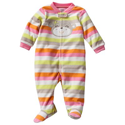 Carter's Striped Monkey Microfleece Sleep and Play - Preemie