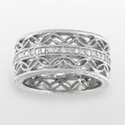 Sterling Silver .15-ct. T.W. Diamond Openwork Ring