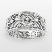 Sterling Silver 1/4-ct. T.W. Diamond Openwork Ring